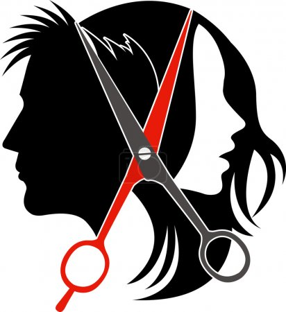 Illustration for Illustration art of salon concept logo on isolated background - Royalty Free Image