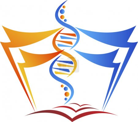 Illustration for Illustration art of a genetic education logo with isolated background - Royalty Free Image