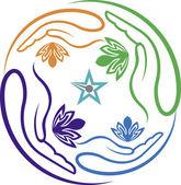 Hand flowers logo