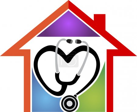 Illustration for Illustration art of a home health care logo with isolated background - Royalty Free Image