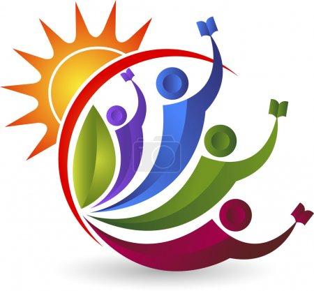 Illustration pour Illustration art d'un couple lumineux logo de l'éducation avec fond isolé - image libre de droit