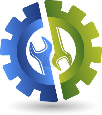 Illustration for Illustration art of a wheel spanner logo with isolated background - Royalty Free Image