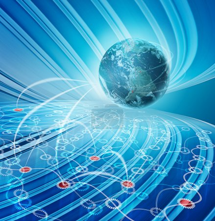Photo pour Illustration du concept abstrait bleu pour les technologies de réseau de communication mondial - image libre de droit