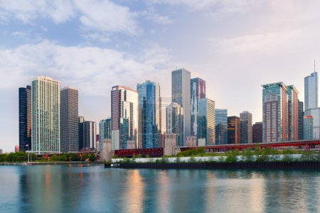 City of Chicago USA, colorful sunset panorama skyline of downtown