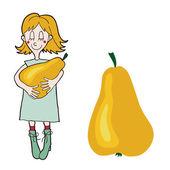 Cartoon girl with a pear