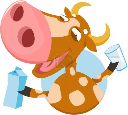 Funny cow with milk