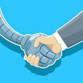 Handshake of robot and human being