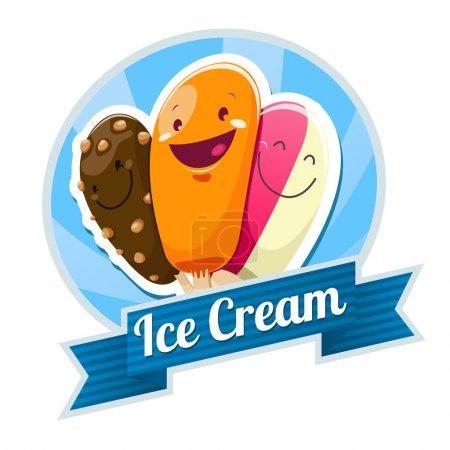 Illustration pour Emblème de crème glacée avec trois crème glacée dessin animé mignon . - image libre de droit