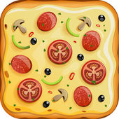Icon with italian pizza with tomato sausage and mushrooms EPS 10 file Transparency is used in shadows and highlights