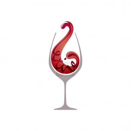 Illustration pour Verre de vin rouge isolé - image libre de droit