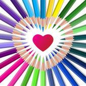 Barevné vektorové pastelky s červeným srdcem
