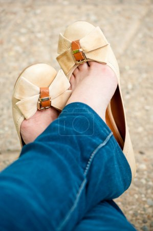 Photo for Female feet wearing shoes without heel. - Royalty Free Image