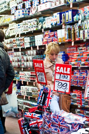 Photo for London souvenirs display in the store to be sold to tourists.Annually visitors spend in London 10 billion pounds sterling - Royalty Free Image