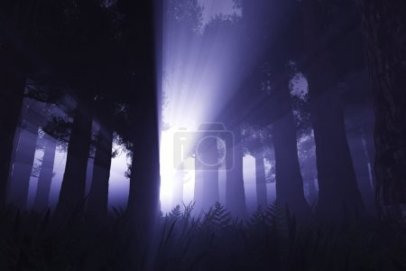 Supernatural scene in dark deep forest 3D render...