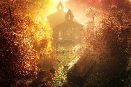 Herbst auf dem Friedhof 3d render 7
