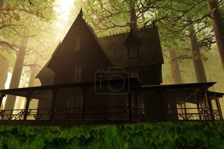 Scary House in Deep Forest 3D render