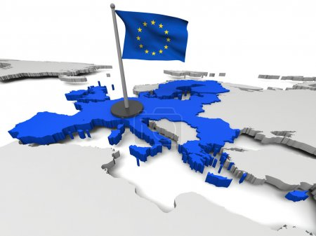 Photo for 3D map of European Union with flag and EU countries highlighted in blue. Elements of this image furnished by NASA - Royalty Free Image