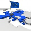 3D map of European Union with flag and EU countrie...