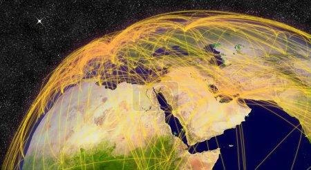 Photo pour Réseau de transport aérien au Moyen-Orient. Éléments de cette image fournis par la NASA . - image libre de droit
