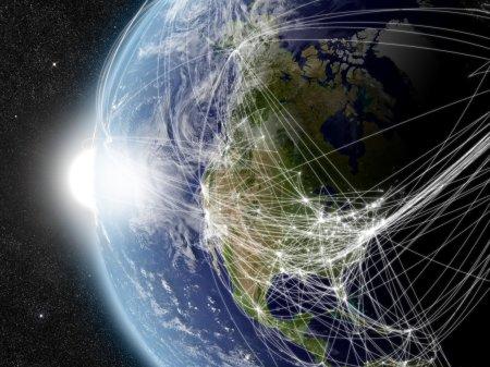 Photo pour L'Amérique du Nord avec réseau représentant les voies de circulation aérienne. éléments de cette image fournie par la nasa. - image libre de droit