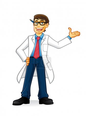 Illustration for Lab geek man cartoon with glasses and wearing a lab coat and hands on hips smiling invite - Royalty Free Image