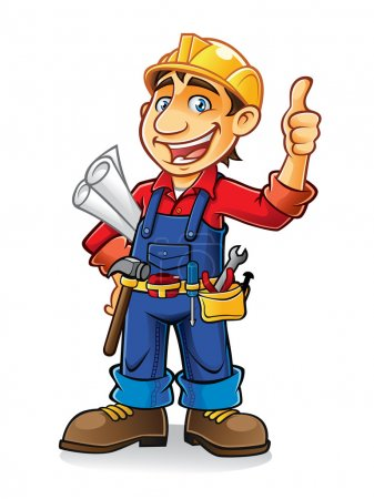 Illustration for Construction workers stand by holding the paper work and tools with a thumbs-up and a big smile - Royalty Free Image