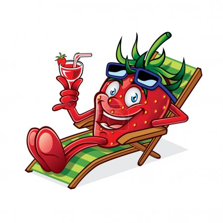 Illustration for Cartoon Berry was relaxing on a beach chair, holding up glasses of drink and smiling happily - Royalty Free Image
