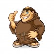 Fat monk smiling and thumbs-up...