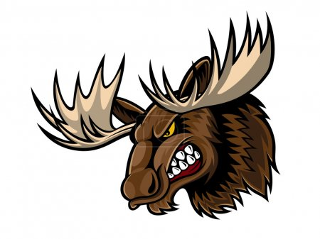 Illustration for Cartoon moose who was very angry, staring and grinning - Royalty Free Image