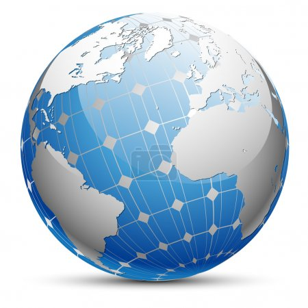 Illustration pour Illustration abstraite de la planète Terre avec un panneau solaire. Vecteur . - image libre de droit