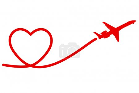 Illustration for Holiday Banner Heart and Plane. Vector. Illustration. - Royalty Free Image