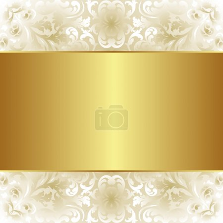 Illustration for Creamy and gold background with floral ornaments - Royalty Free Image
