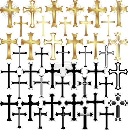 Illustration pour Ensemble d'illustrations vectorielles - croix d'or et croix noires - image libre de droit