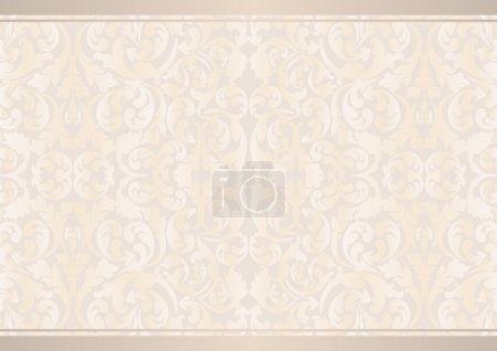 Illustration pour Fond beige avec des ornements floraux - image libre de droit