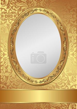 Illustration for Vintage golden background decorativel frame - Royalty Free Image
