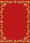 Red background with golden rose frame