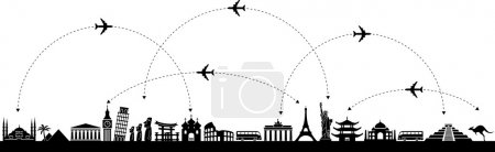 Black and white vector background with a trip with...