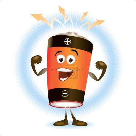 Illustration pour La batterie orange rit et montre la force comme l'athlète - image libre de droit