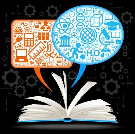 Illustration pour Du livre ouvert bulles de discours de mouche avec des icônes sur le thème de l'éducation - image libre de droit