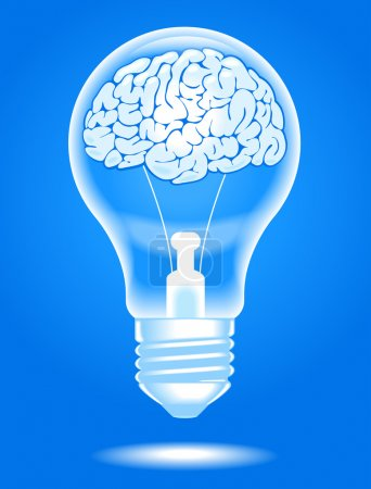 Illustration for The concept of the emergence of the idea.shining lamp with the brain. Brain storming. File is saved in AI10 EPS version. This illustration contains a transparency - Royalty Free Image