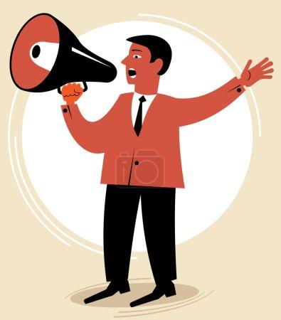 Man speaks through the speaking-trumpet