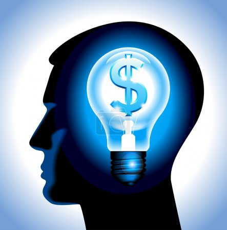 Photo for The idea to earn money. the silhouette of a human head with a lamp and a dollar. File is saved in AI10 EPS version. This illustration contains a transparency - Royalty Free Image