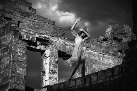 Girl in the ruined building