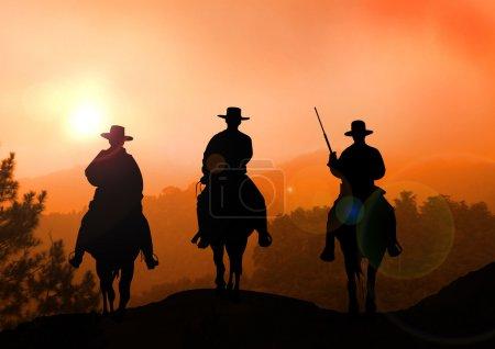 Photo pour Stock illustration du cavalier de cheval sur la montagne - image libre de droit