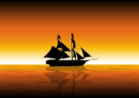 illustration vectorielle stock de navire de voile au coucher du soleil