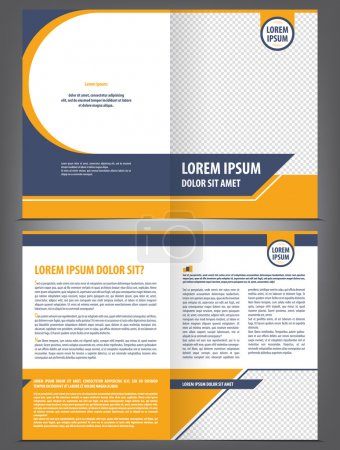 Illustration for Vector empty brochure template design with orange and dark blue elements - Royalty Free Image