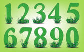 Set of numbers with grass and flowers environmental protection