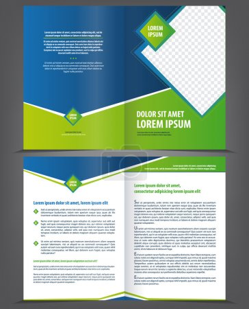 Illustration for Vector empty brochure template design with bright green and blue elements - Royalty Free Image