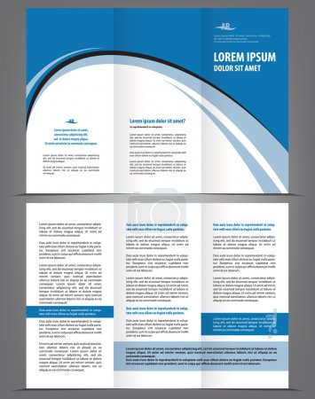 Vector empty brochure template design with blue elements