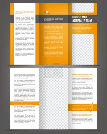 Vector empty trifold brochure print template design with orange elements